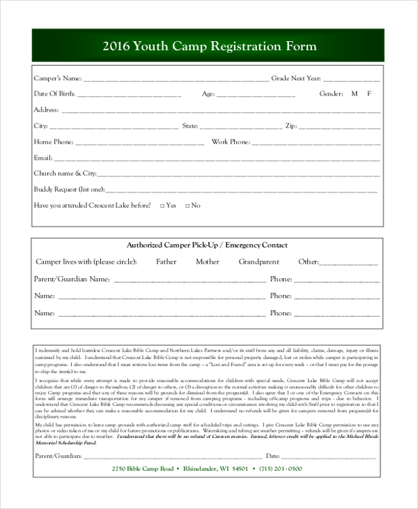 youth camp registration form