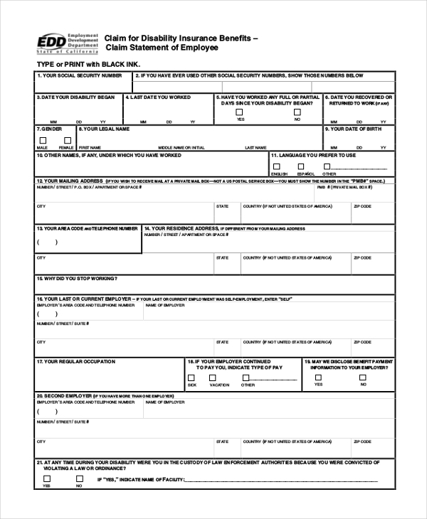 california state disability application form