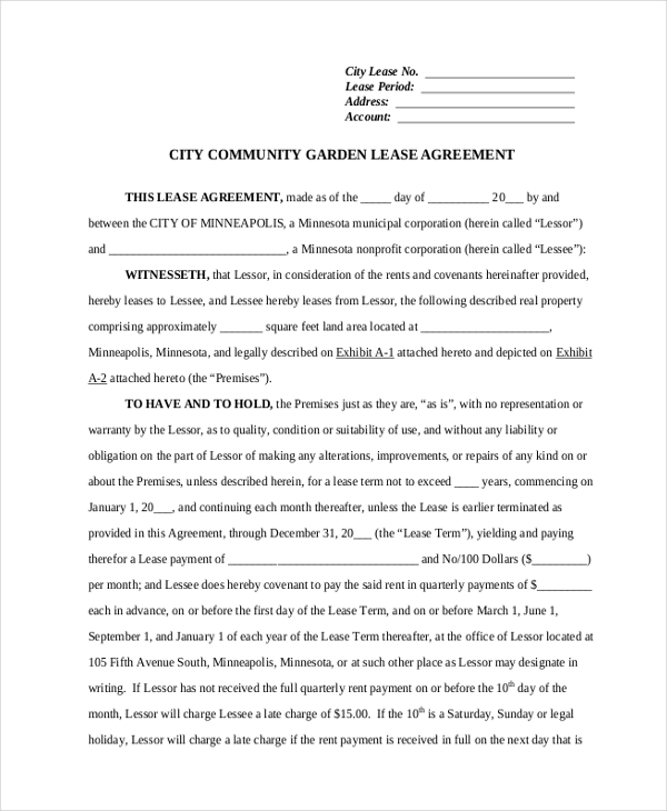 city community garden commericial lease agreement form