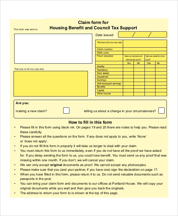 claim housing benefit form