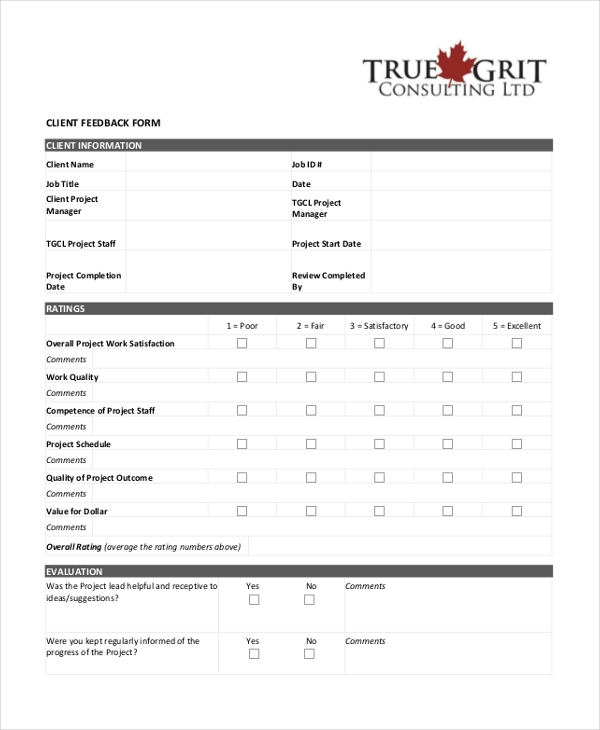 client employee feed form