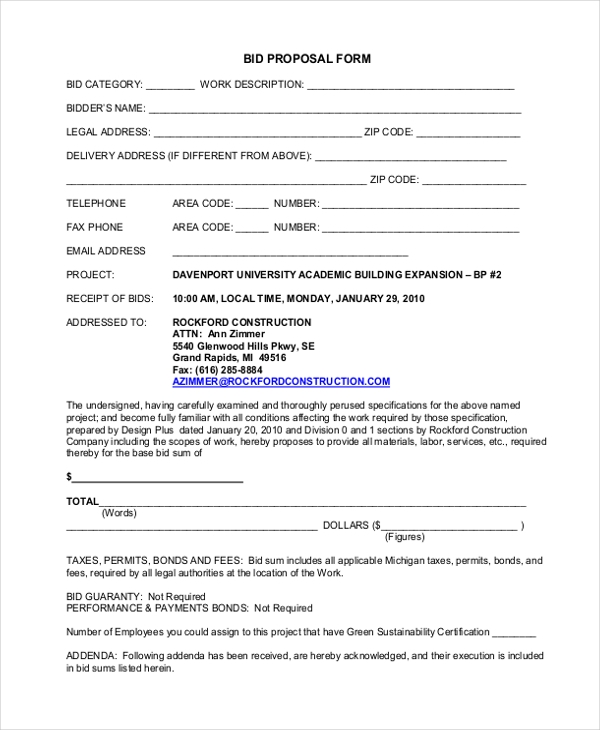 Captivating Construction Bid Proposal Form With Construction Proposal Form