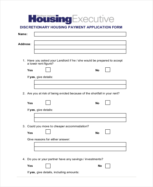 discretionary housing benefit form