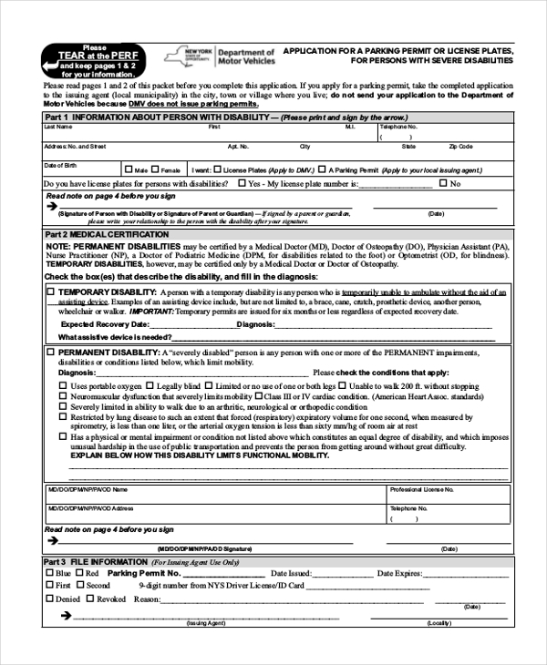 Sample Disability Application Forms   Free Documents In Pdf