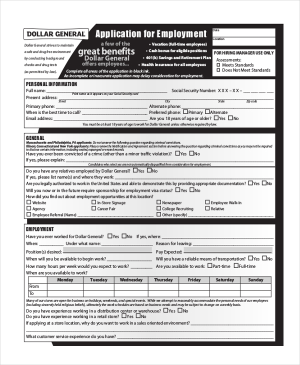 on job application forms to print for dollar general