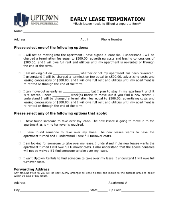 early lease termination form