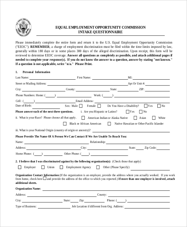 Eeoc Complaint Form | Sample Complaint Form 22 Free Documents In Word Pdf