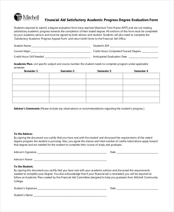 financial academic progress evaluation form