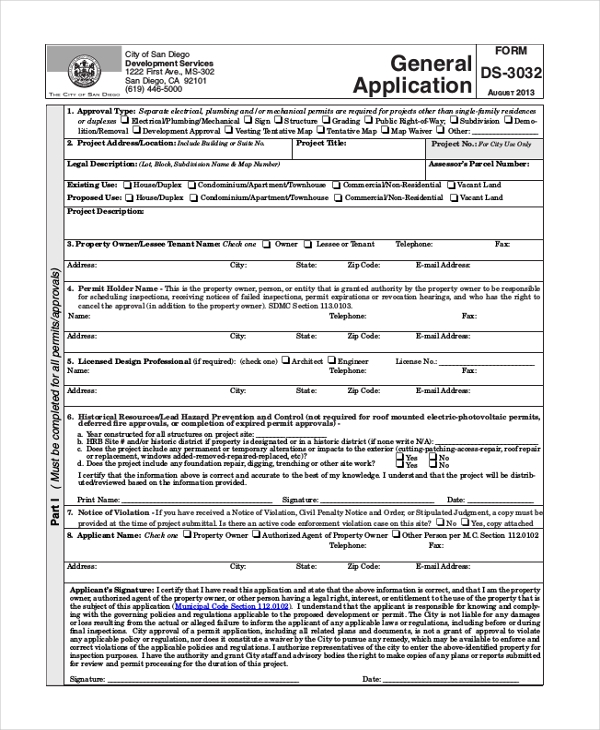 general application form for all services