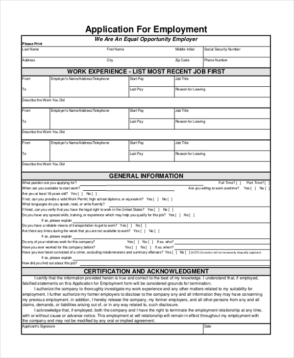 General Application Form 8 Free Documents in PDF – Generic Application for Employment
