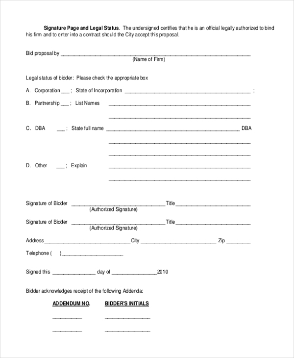 sample construction bid forms 8 free documents in word pdf