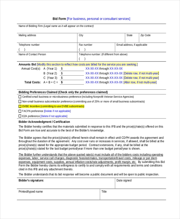 Sample Construction Bid Forms   Free Documents In Word Pdf