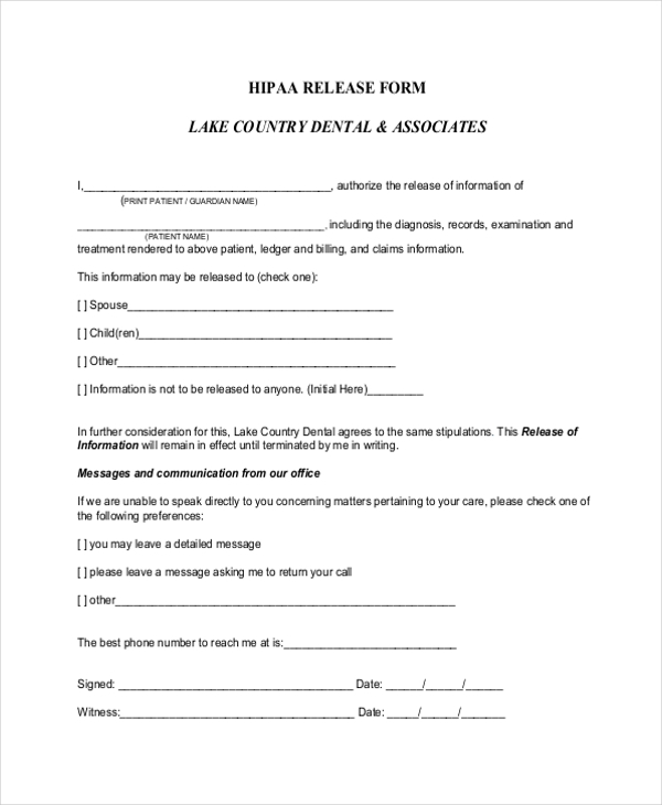 hipaa dental release form