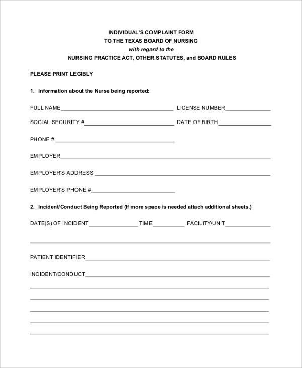 indiviual patient complaint form