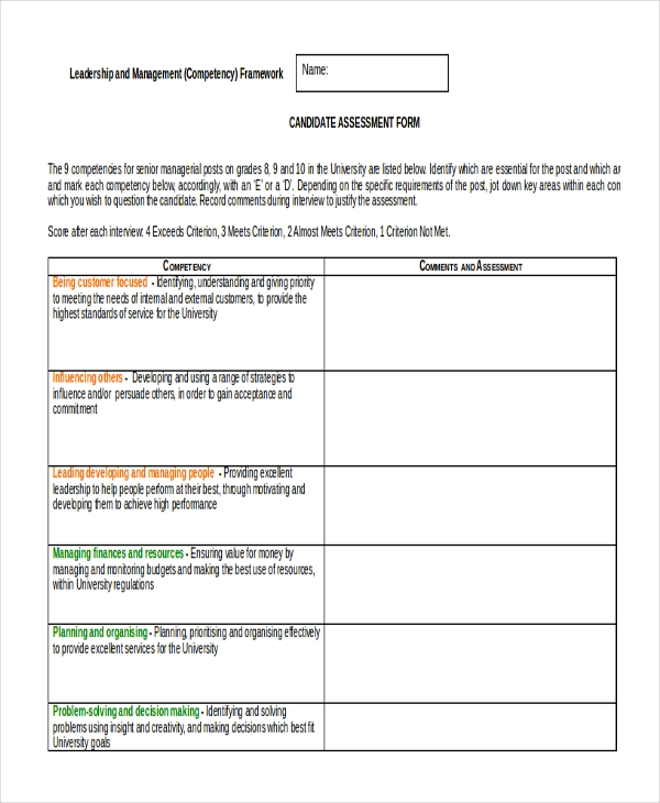Sample Job Assessment Forms - 9+ Free Documents In Word, Pdf