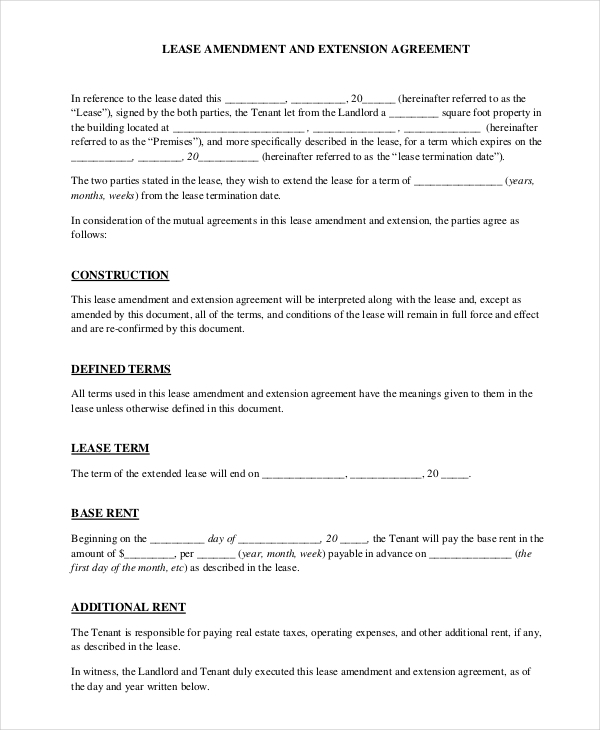 Lease Amendment Form   Free Documents In Pdf Doc
