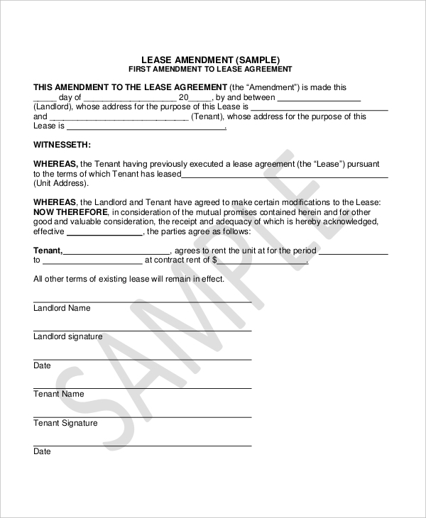 Lease Amendment Form 10 Free Documents in PDF Doc – Lease Agreement Contract