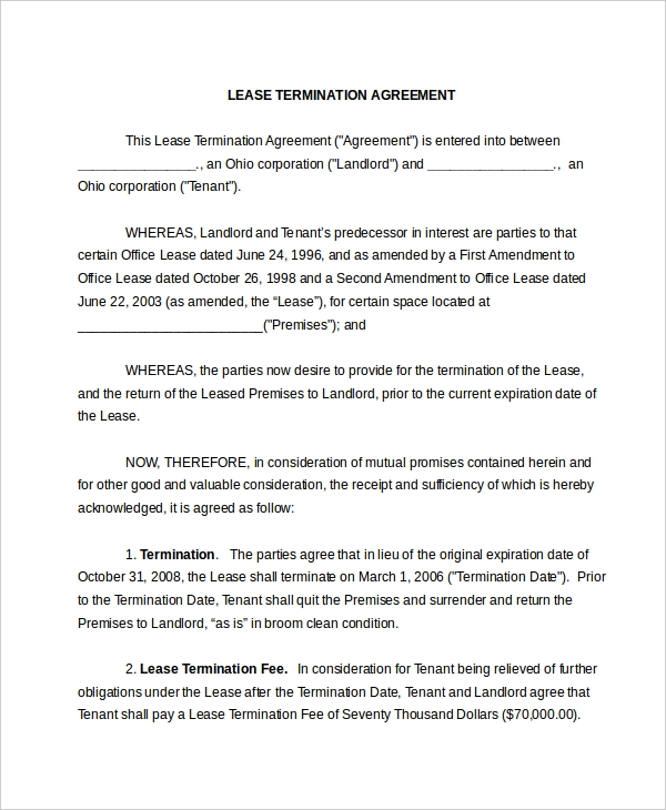 Lease Termination Form   Free Documents In Pdf Doc