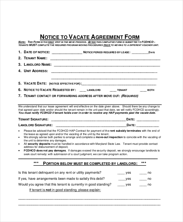 notice to vacate agreement form