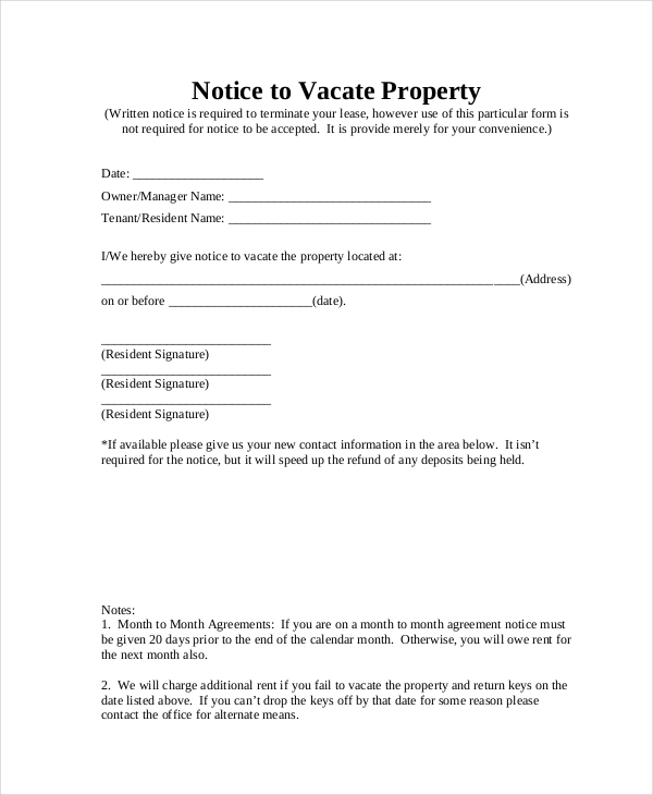 Notice To Vacate Form   Free Documents In Pdf Doc