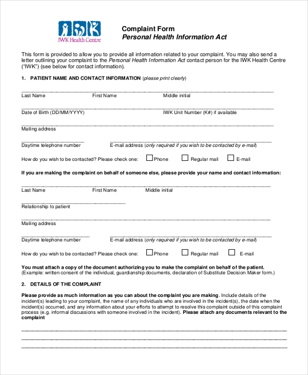 patient personal health informantion complaint consent form