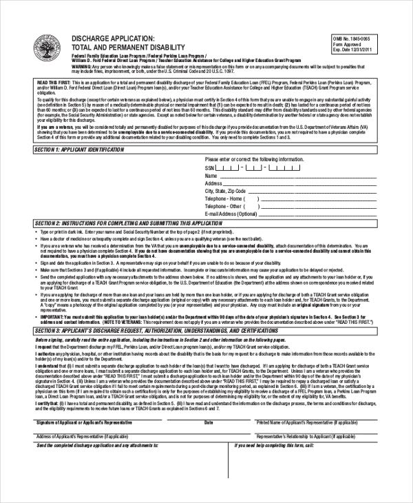 permanent disability application form