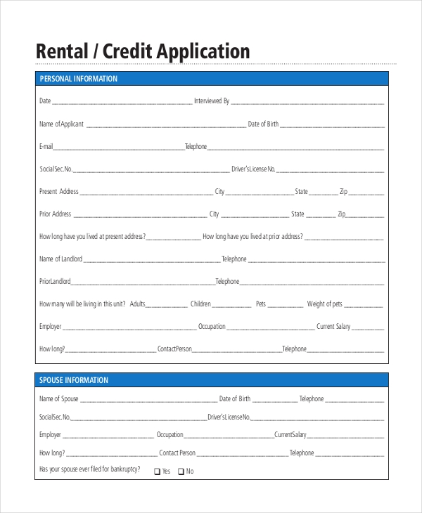 Rental Application Form   Free Documents In Pdf Doc