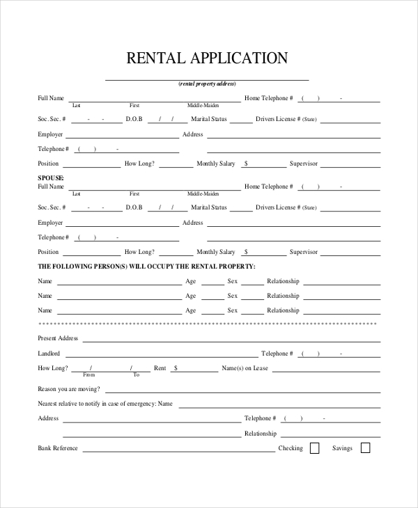lease application form free