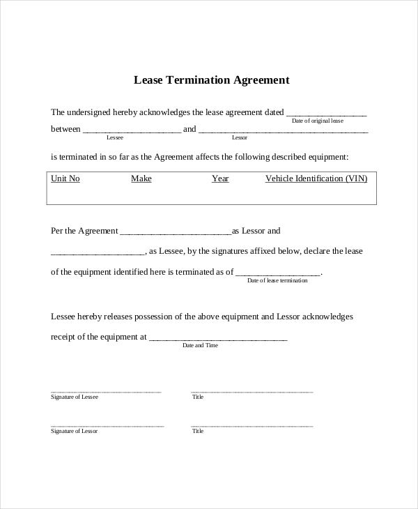 Ordinaire ... Lease Termination Form