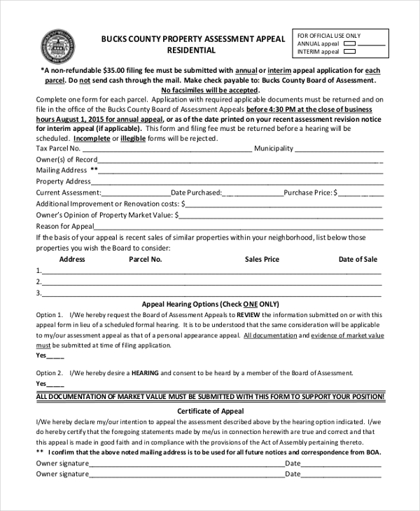 residental property appeal assessment form