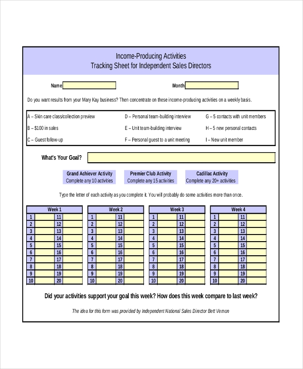 sales activity tracking forms