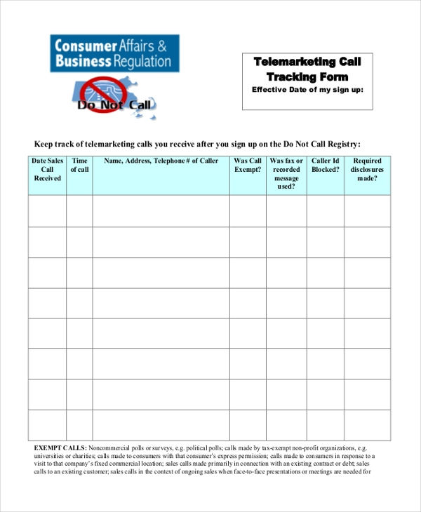 Sales Call Tracking Forms