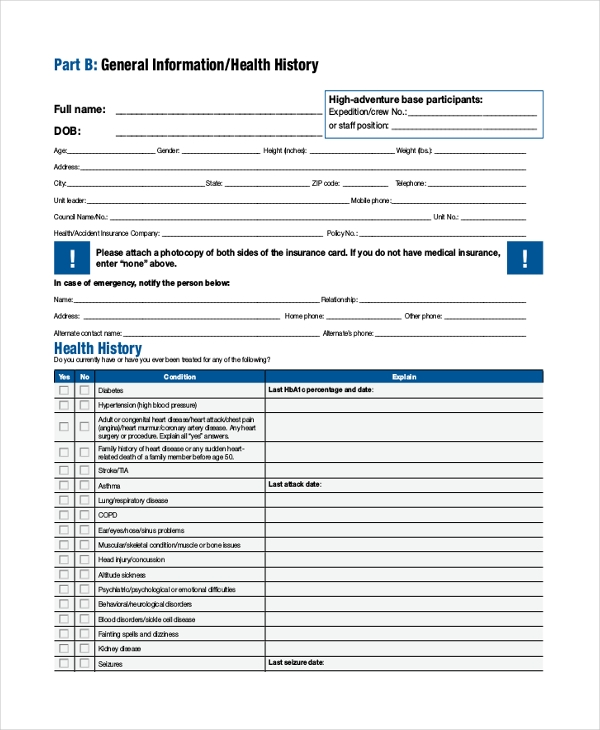 scout medical examination form