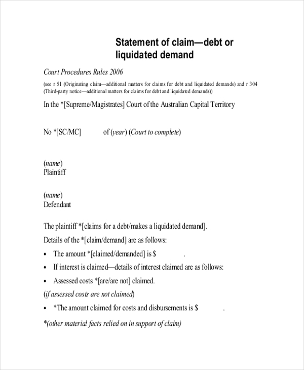 Statement Of Claim Forms - 9+ Free Documents In Pdf