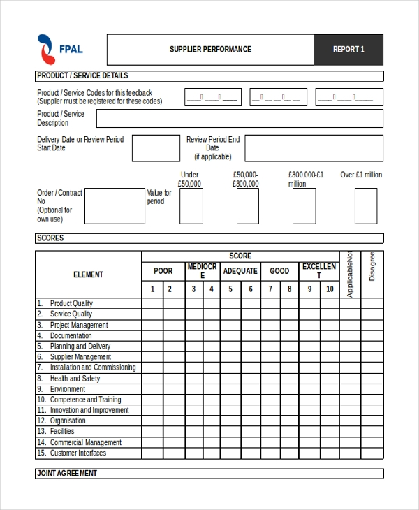 supplier performance evaluation form