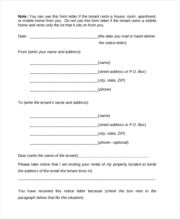 tenant notice to vacate form