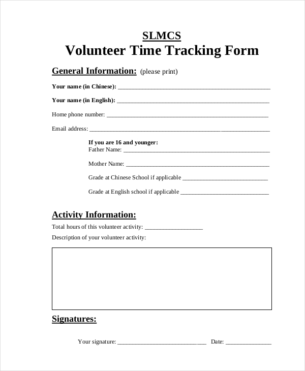 Free 10 Sample Time Tracking Forms In Pdf Ms Word Excel