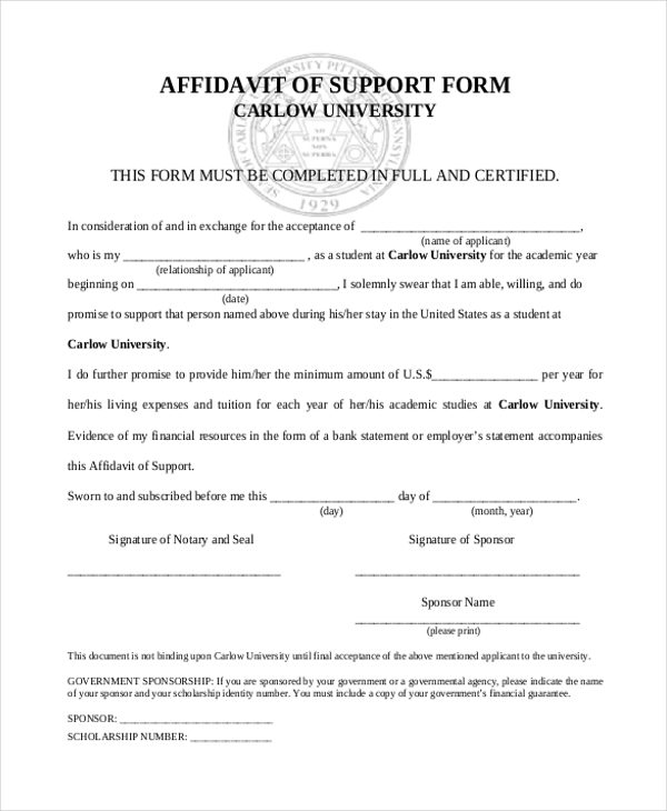 Affidavit Of Support Sample Affidavit Of Support  Examples In Pdf