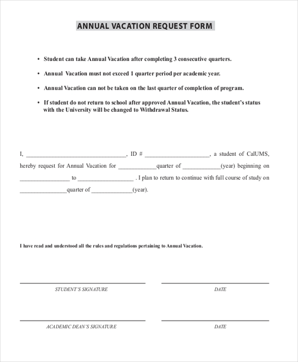 Sample Vacation Request Form 9 Free Documents in Word PDF – Vacation Request Form