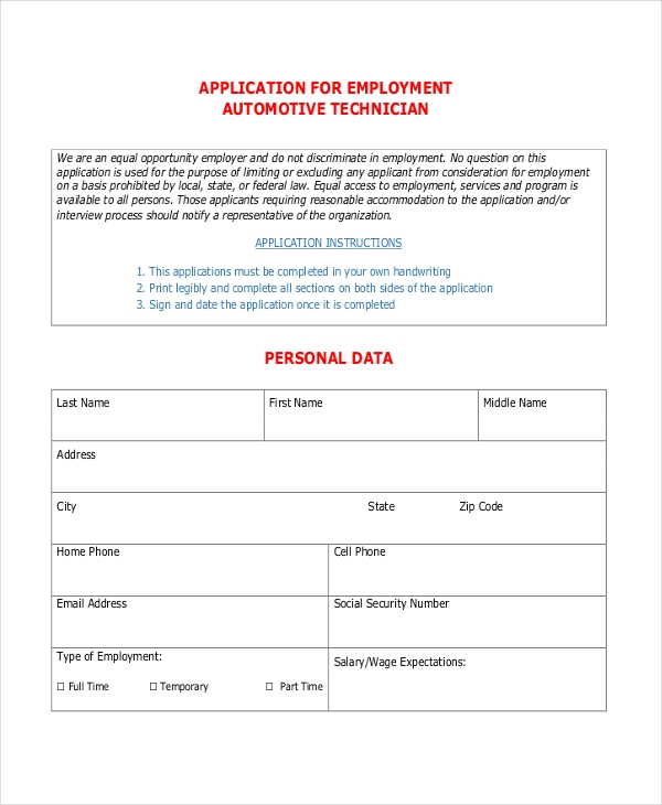 application for employment automotive technician