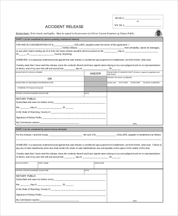 Sample Release Forms   Free Documents In Word Pdf