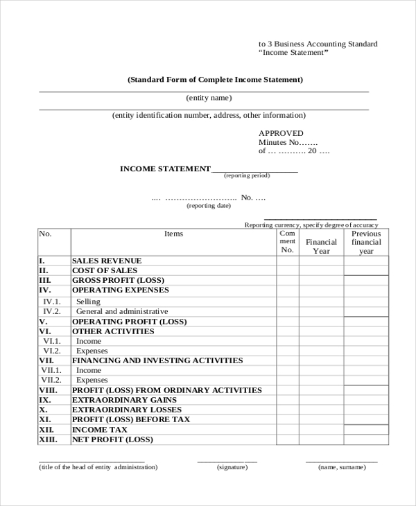 Accounting Income Statement Example  Income Statement Template Word