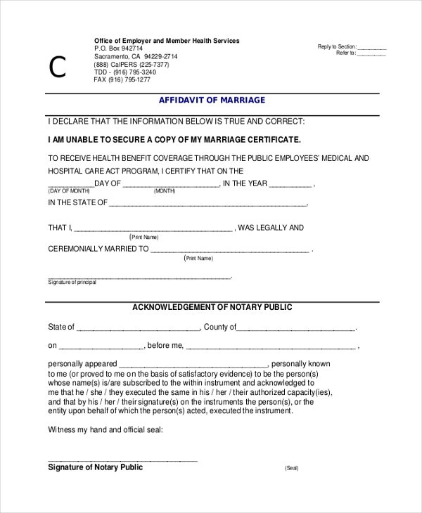 affidavit form for marriage