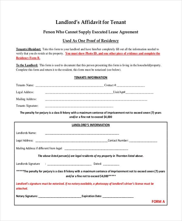 affidavit form for tenant