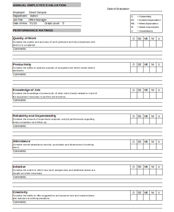 annual employee evaluation form