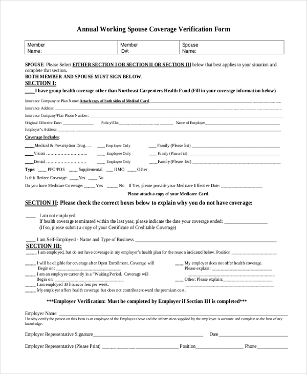 Annual Working Spouse Coverage Verification Form