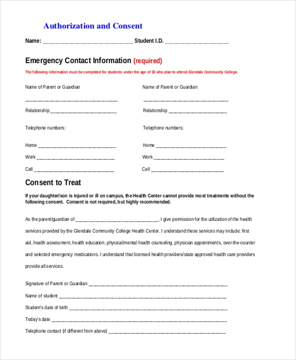 authorization consent form