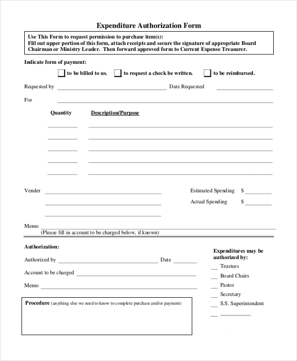 authorization expenditure form