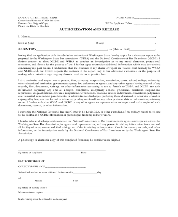 authorization release form
