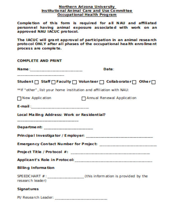 bsa occupational health form